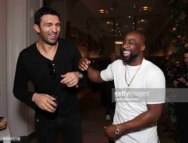 Zaza Pachulia and Raymond Felton attend a Del Toro Chandler Parsons Event at Saks Fifth Avenue Beverly Hills on October 30 2015 in Beverly Hills...