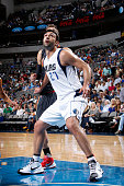 Zaza Pachulia of the Dallas Mavericks boxes out against the Atlanta Hawks on October 16 2015 at the American Airlines Center in Dallas Texas NOTE TO...