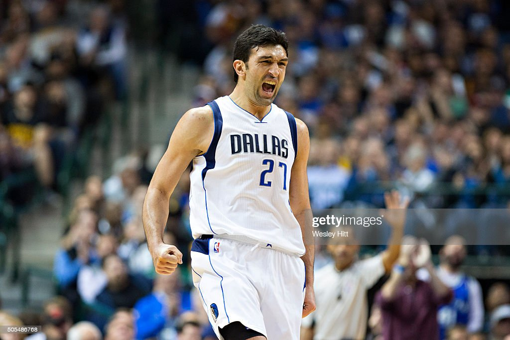 Zaza Pachulia of the Dallas Mavericks celebrates during a game against the Cleveland Cavaliers at American Airlines Center on January 12 2016 in...