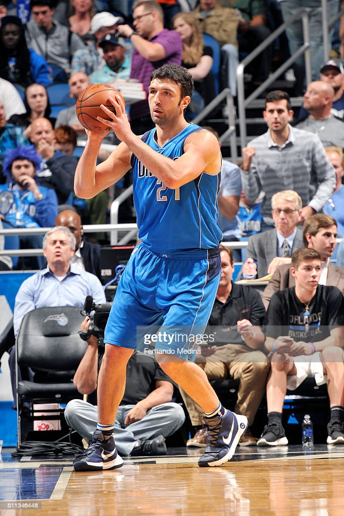 Zaza Pachulia of the Dallas Mavericks handles the ball during the game against the Orlando Magic on February 19 2016 at Amway Center in Orlando...