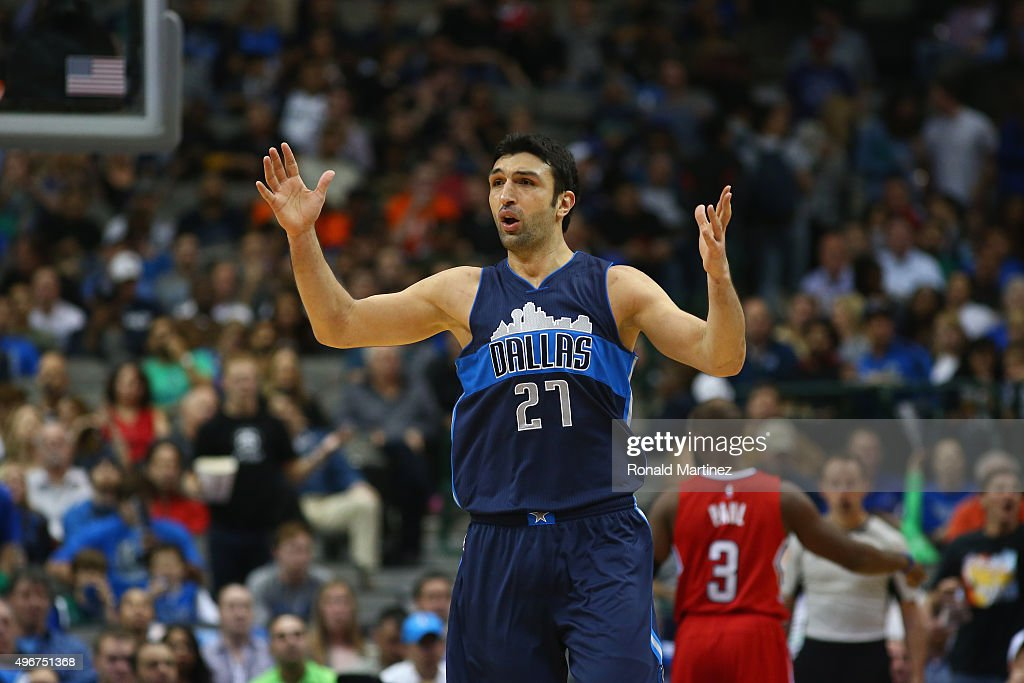 Zaza Pachulia of the Dallas Mavericks reacts against the Los Angeles Clippers in the second half at American Airlines Center on November 11 2015 in...
