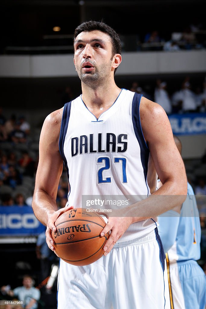 Zaza Pachulia of the Dallas Mavericks shoots a foul shot against the Denver Nuggets during a preseason game on October 6 2015 at the American...