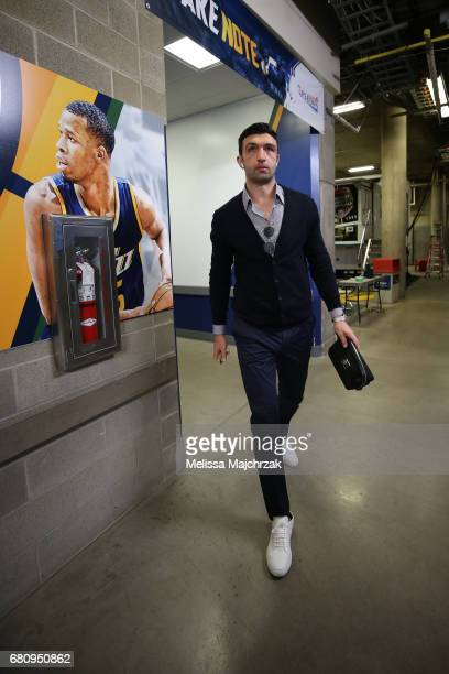 Zaza Pachulia of the Golden State Warriors arrives at the arena before Game Three of the Western Conference Semifinals against the Utah Jazz during...