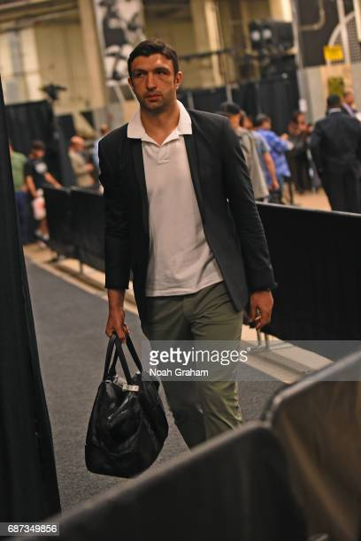 Zaza Pachulia of the Golden State Warriors arrives at the arena before Game Four of the Western Conference Finals against the San Antonio Spurs...