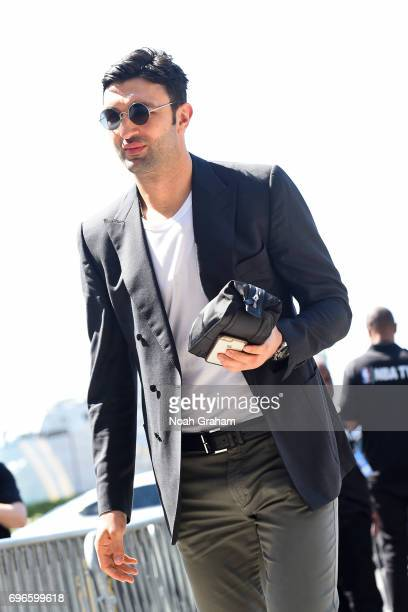 Zaza Pachulia of the Golden State Warriors arrives at the arena before Game Five of the 2017 NBA Finals against the Cleveland Cavaliers on June 12...