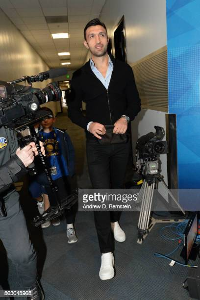 Zaza Pachulia of the Golden State Warriors arrives at the arena before the game against the Houston Rockets on October 17 2017 at ORACLE Arena in...