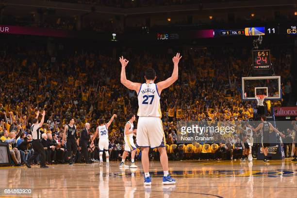 Zaza Pachulia of the Golden State Warriors celebrates after scoring against the San Antonio Spurs during Game Two of the Western Conference Finals of...