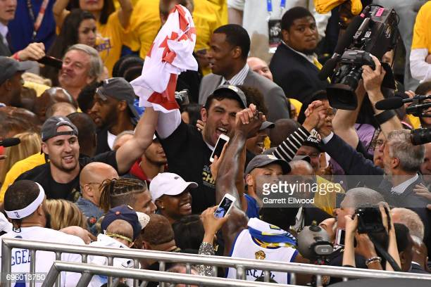 Zaza Pachulia of the Golden State Warriors celebrates after winning the NBA Championship against the Cleveland Cavaliers in Game Five of the 2017 NBA...