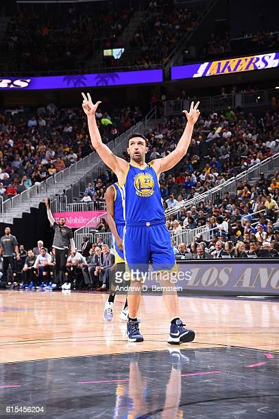Zaza Pachulia of the Golden State Warriors celebrates during the game against the Los Angeles Lakers during a preseason game on October 15 2016 at...