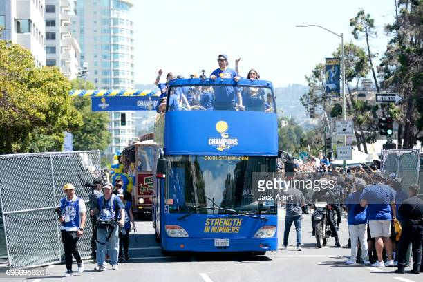 Zaza Pachulia of the Golden State Warriors celebrates winning the 2017 NBA Championship during a parade on June 15 2017 in Oakland CA NOTE TO USER...