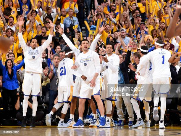 Zaza Pachulia of the Golden State Warriors cheers from the bench during the game against the Cleveland Cavaliers in Game Five of the 2017 NBA Finals...