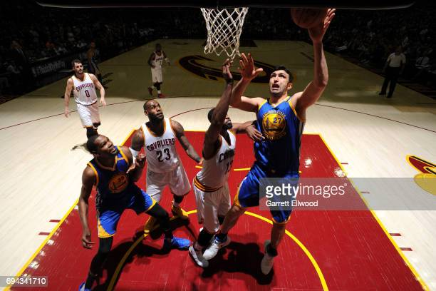 Zaza Pachulia of the Golden State Warriors drives to the basket against the Cleveland Cavaliers in Game Four of the 2017 NBA Finals on June 9 2017 at...