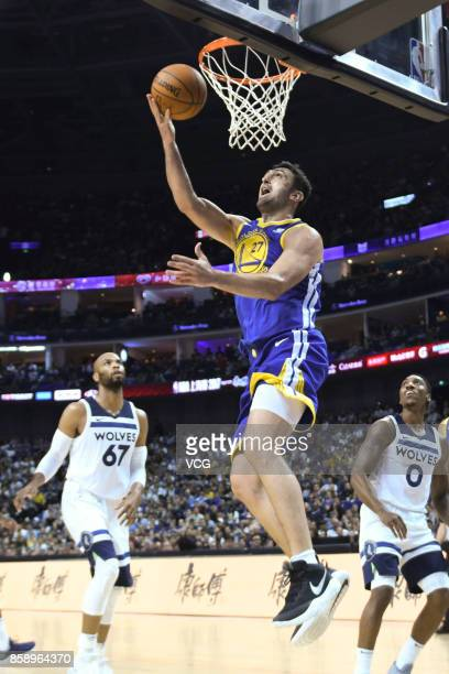 Zaza Pachulia of the Golden State Warriors dunks during the game against the Minnesota Timberwolves as part of 2017 NBA Global Games China on October...
