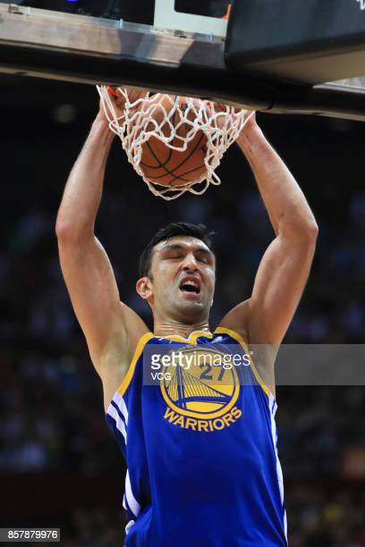 Zaza Pachulia of the Golden State Warriors dunks the ball during the game between the Minnesota Timberwolves and the Golden State Warriors as part of...