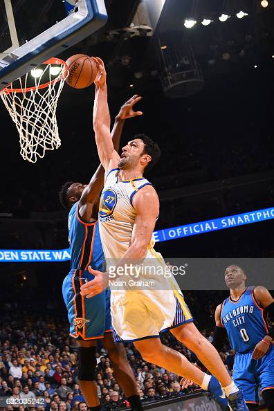 Zaza Pachulia of the Golden State Warriors goes for the dunk during the game against the Oklahoma City Thunder on January 18 2017 at ORACLE Arena in...