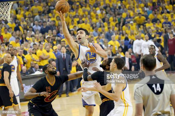 Zaza Pachulia of the Golden State Warriors goes to the basket against the Cleveland Cavaliers in Game Five of the 2017 NBA Finals on June 12 2017 at...