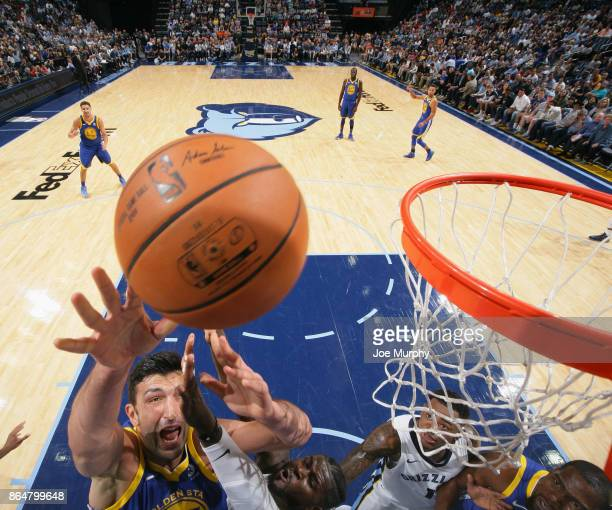 Zaza Pachulia of the Golden State Warriors goes to the basket against the Memphis Grizzlies on October 21 2017 at FedExForum in Memphis Tennessee...