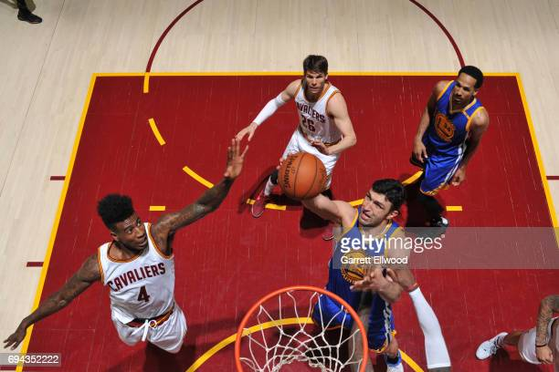 Zaza Pachulia of the Golden State Warriors grabs the rebound against the Cleveland Cavaliers in Game Four of the 2017 NBA Finals on June 9 2017 at...