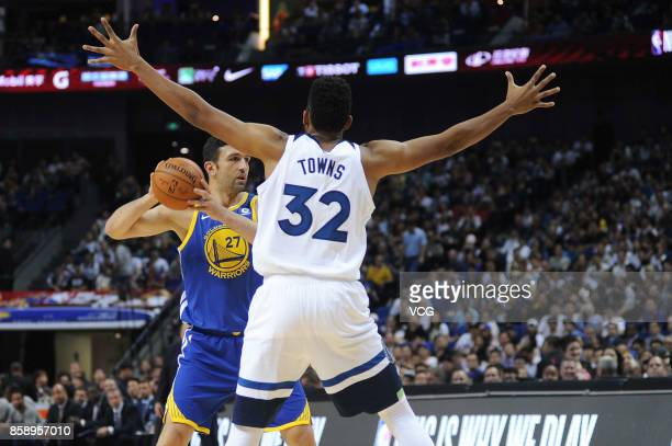 Zaza Pachulia of the Golden State Warriors holds the ball during the game against the Minnesota Timberwolves as part of 2017 NBA Global Games China...