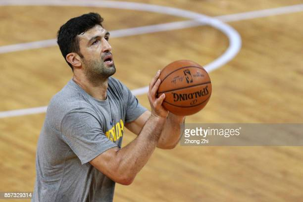 Zaza Pachulia of the Golden State Warriors in action during practice at Shenzhen Gymnasium as part of 2017 NBA Global Games China on October 4 2017...