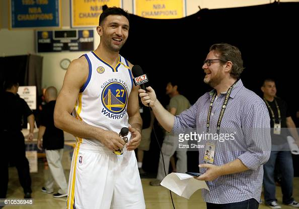 Zaza Pachulia of the Golden State Warriors in interviewed during the Golden State Warriors Media Day at the Warriors Practice Facility on September...