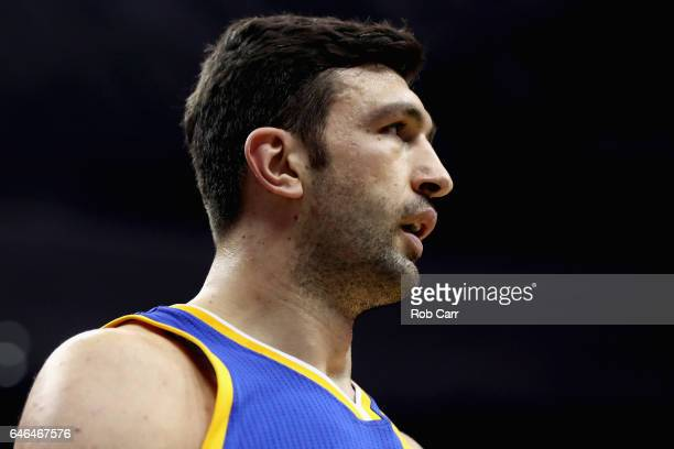 Zaza Pachulia of the Golden State Warriors looks on against the Washington Wizards at Verizon Center on February 28 2017 in Washington DC NOTE TO...