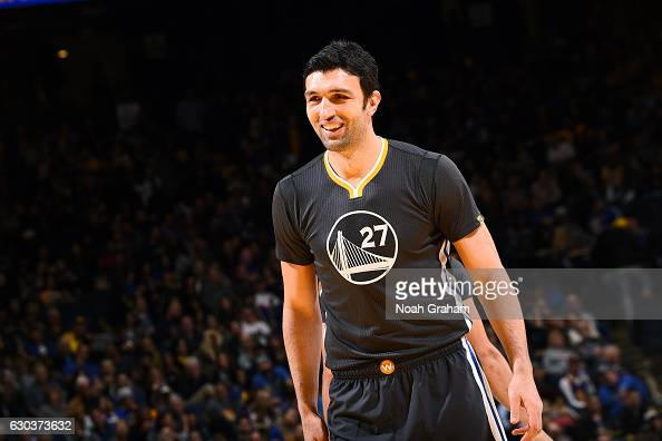 Zaza Pachulia of the Golden State Warriors looks on during the game against the Phoenix Suns on December 3 2016 at ORACLE Arena in Oakland California...