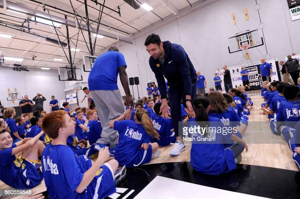 Zaza Pachulia of the Golden State Warriors participates in a Jr NBA clinic and Parent Forum focused on positive coaching at the Ultimate Fieldhouse...