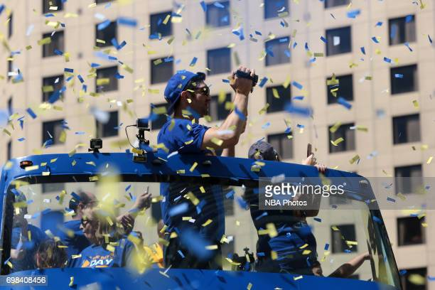 Zaza Pachulia of the Golden State Warriors poses for a photo during the Victory Parade and Rally on June 15 2017 in Oakland California at The Henry J...