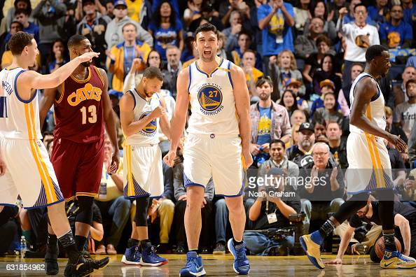 Zaza Pachulia of the Golden State Warriors reacts during the game against the Cleveland Cavaliers on January 16 2017 at ORACLE Arena in Oakland...