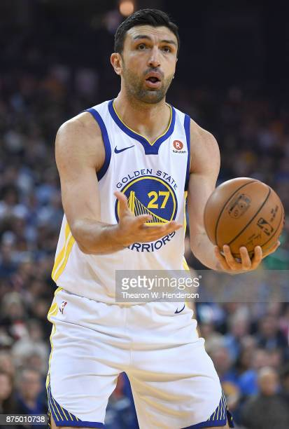 Zaza Pachulia of the Golden State Warriors reacts to a call against the Philadelphia 76ers during an NBA basketball game at ORACLE Arena on November...