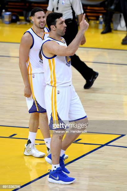 Zaza Pachulia of the Golden State Warriors reacts to a play against the Cleveland Cavaliers in Game 1 of the 2017 NBA Finals at ORACLE Arena on June...