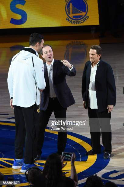 Zaza Pachulia of the Golden State Warriors receives his ring during the NBA Championship ring ceremony on October 17 2017 at ORACLE Arena in Oakland...