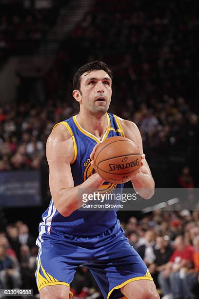 Zaza Pachulia of the Golden State Warriors shoots a free throw against the Portland Trail Blazers on January 29 2017 at the Moda Center in Portland...