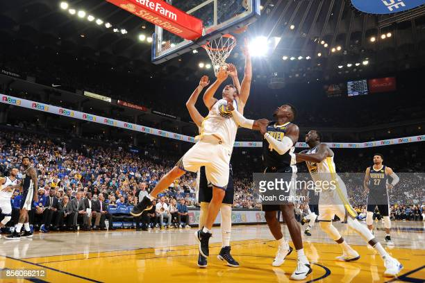 Zaza Pachulia of the Golden State Warriors shoots a lay up during the game against the Denver Nuggets during a preseason game on September 30 2017 at...