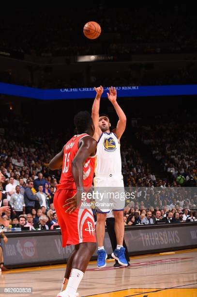 Zaza Pachulia of the Golden State Warriors shoots the ball against the Houston Rockets on October 17 2017 at ORACLE Arena in Oakland California NOTE...