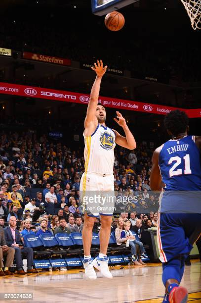 Zaza Pachulia of the Golden State Warriors shoots the ball against the Philadelphia 76ers on November 11 2017 at ORACLE Arena in Oakland California...
