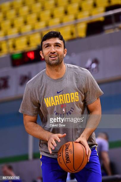 Zaza Pachulia of the Golden State Warriors shoots the ball during practice and media availability at Shenzhen Gymnasium as part of 2017 NBA Global...