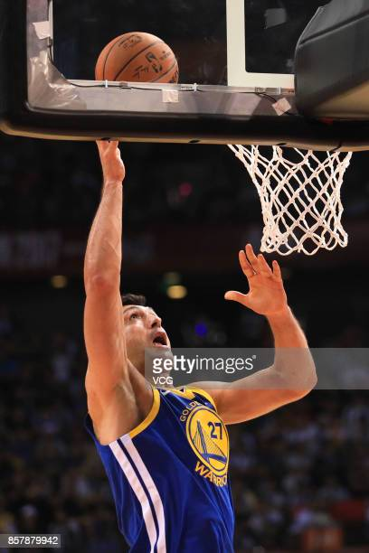 Zaza Pachulia of the Golden State Warriors shoots the ball during the game between the Minnesota Timberwolves and the Golden State Warriors as part...