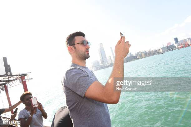 Zaza Pachulia of the Golden State Warriors takes in some sights around Hong Kong as part of the 2017 Global Games China on October 3 2017 in Hong...