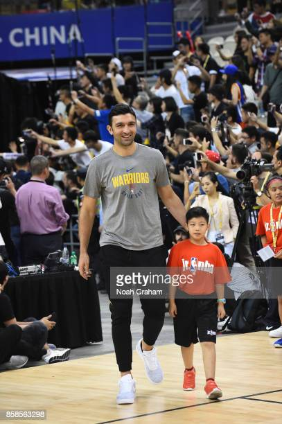 Zaza Pachulia of the Golden State Warriors walks out during fan day as part of 2017 NBA Global Games China on October 7 2017 at the Oriental Sports...