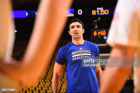 Zaza Pachulia of the Golden State Warriors warms up before the game against the Los Angeles Clippers on January 28 2017 at ORACLE Arena in Oakland...