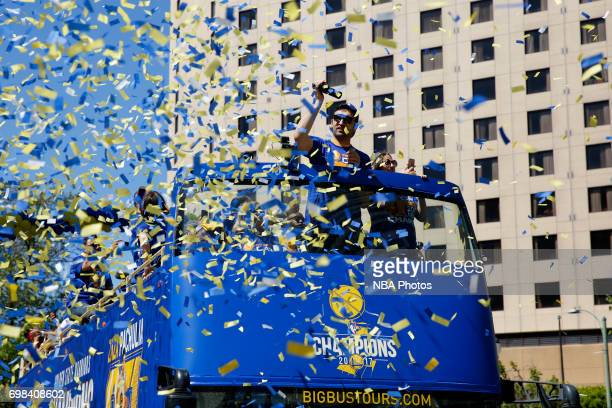 Zaza Pachulia of the Golden State Warriors waves to the crowd during the Victory Parade and Rally on June 15 2017 in Oakland California at The Henry...