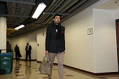 Zaza Pachulia of the Milwaukee Bucks arrives for Game Five of the Eastern Conference Quarterfinals against the Chicago Bulls during the NBA Playoffs...