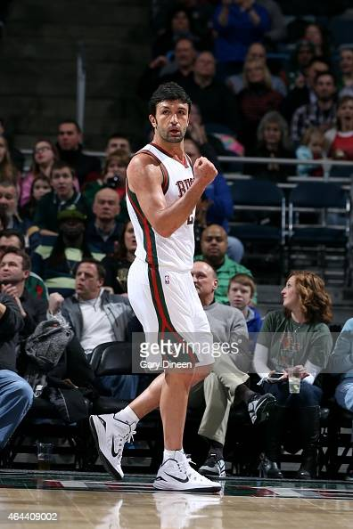 Zaza Pachulia of the Milwaukee Bucks celebrates during a game against the Philadelphia 76ers on February 25 2015 at BMO Harris Bradley Center in...