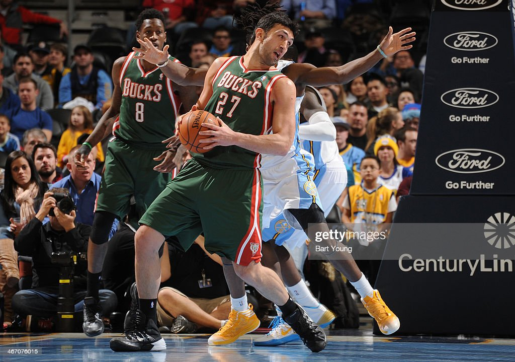 Zaza Pachulia #27 of the Milwaukee Bucks controls the ball against against the Denver Nuggets on February 5, 2014 at the Pepsi Center in Denver, Colorado.