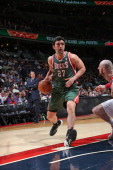 Zaza Pachulia of the Milwaukee Bucks drives against the Washington Wizards at the Verizon Center on April 12 2014 in Washington DC NOTE TO USER User...