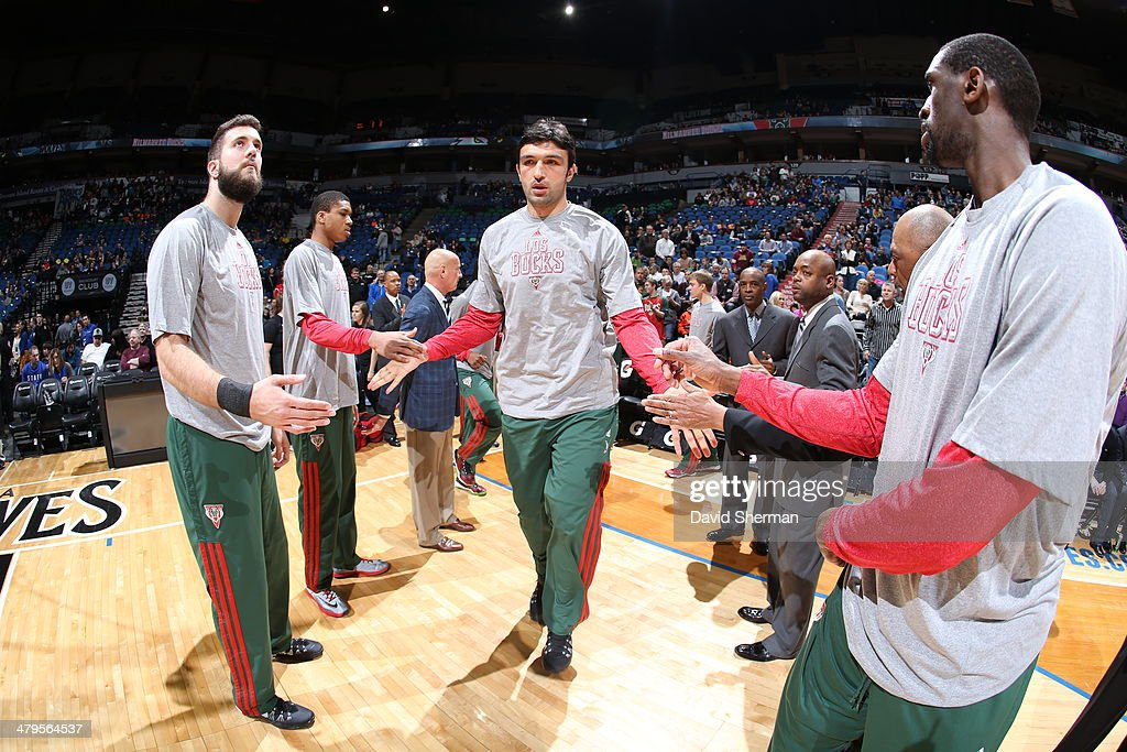 Zaza Pachulia #27 of the Milwaukee Bucks gets introduced before a game against the Minnesota Timberwolves on March 11, 2014 at Target Center in Minneapolis, Minnesota.