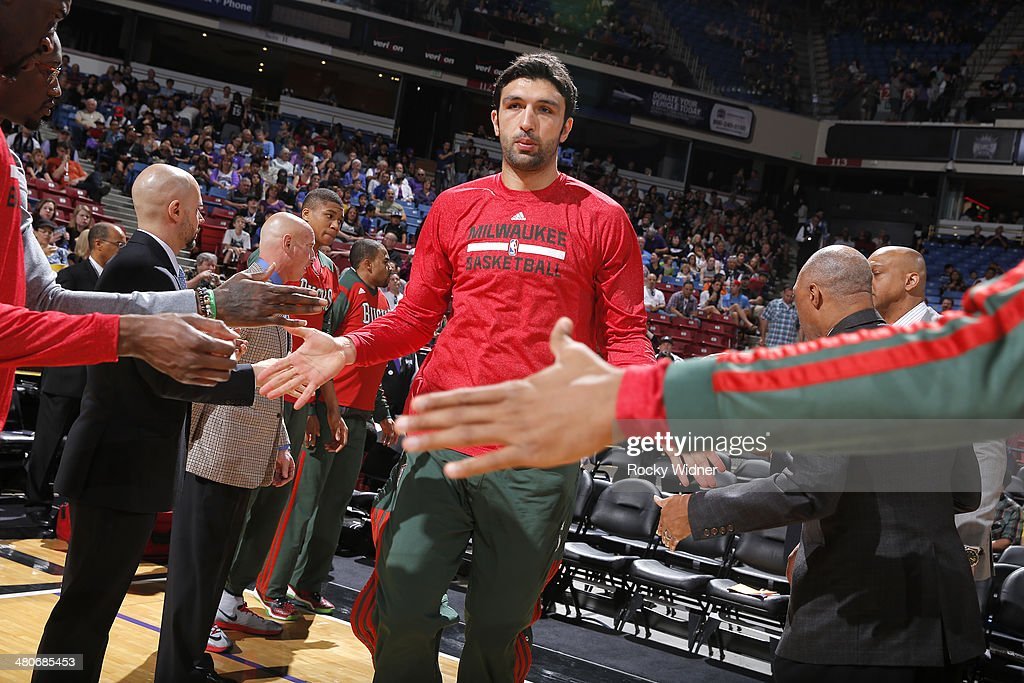 <a gi-track='captionPersonalityLinkClicked' href=/galleries/search?phrase=Zaza+Pachulia&family=editorial&specificpeople=202939 ng-click='$event.stopPropagation()'>Zaza Pachulia</a> #27 of the Milwaukee Bucks gets introduced into the starting lineup against the Sacramento Kings on March 23, 2014 at Sleep Train Arena in Sacramento, California.