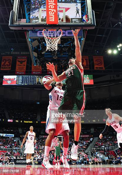 Zaza Pachulia of the Milwaukee Bucks goes for the layup against the Atlanta Hawks during the game on March 30 2015 at Philips Arena in Atlanta...